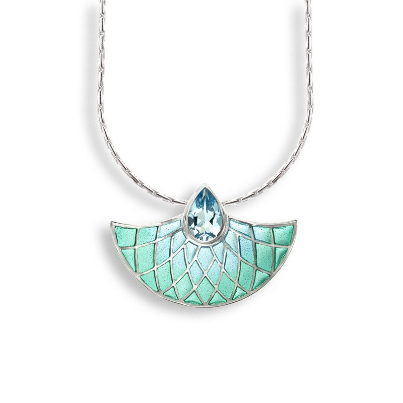 Nicole Barr Designs Blue Art Deco Fan Necklace.Sterling Silver-Blue Topaz - Plique-a-Jour