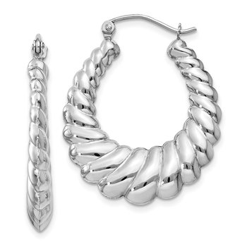14k White Gold Polished Scalloped Hoop Earrings