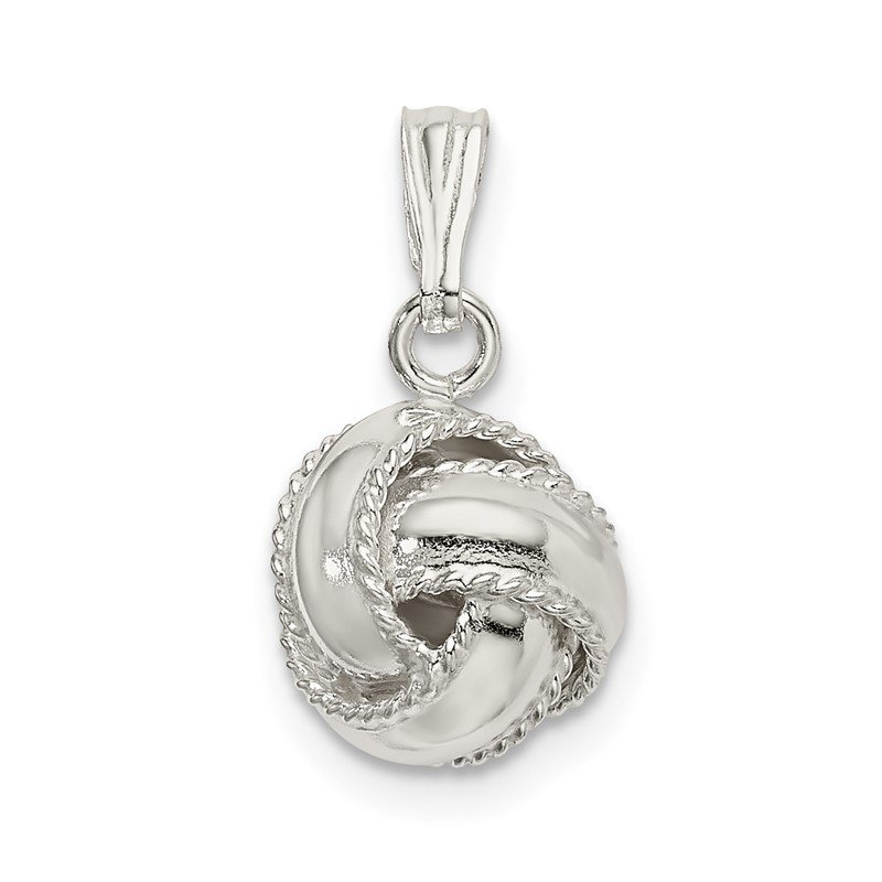 Quality Gold Sterling Silver Polished Love Knot Pendant