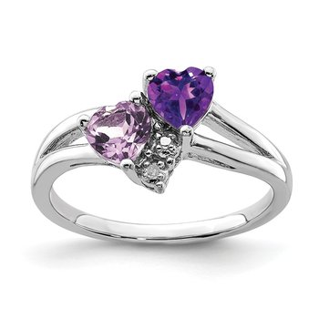 Sterling Silver Rhodium-plated Amethyst & Pink Quartz & Diamond Ring