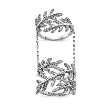 Sterling Silver Rhodium-plated CZ Leaf with Extender Ring