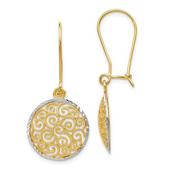 Leslie's 14K Two-tone Filigree Dangle Earrings