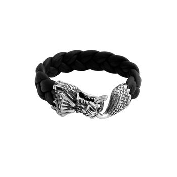 Leather Bracelet With Large Silver Dragon Clasp.