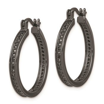 Sterling Silver Black Rhodium Plated Black CZ Hoop Earrings