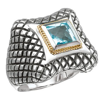 18K/SILVER WITH SQUARE BLUE   TOPAZ RING BT-6.5MM