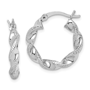 Sterling Silver Rhodium Plated Twisted 3.5x20mm Hoop Earrings