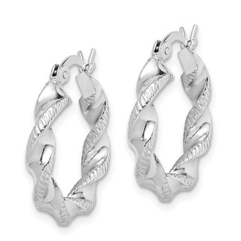 Sterling Silver Rhodium Plated Twist 3.5x20mm Hoop Earrings