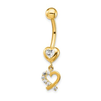 14k CZ 2-Hearts Dangle Belly Ring