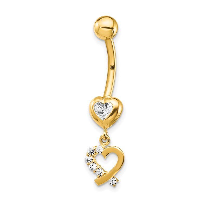 Quality Gold 14k CZ 2-Hearts Dangle Belly Ring