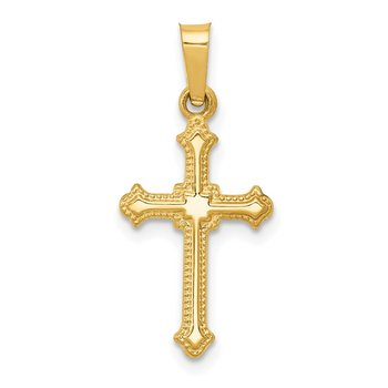 14k Polished Small Fleur de Lis Cross Pendant