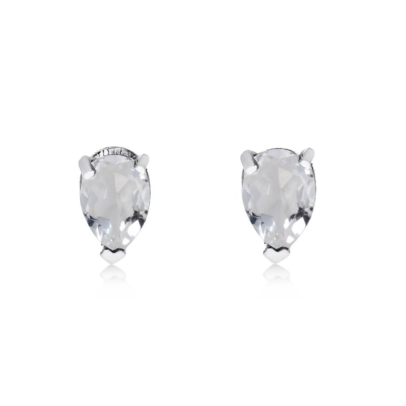 Color Merchants 14k White Gold White Topaz Pear-Shaped Earring