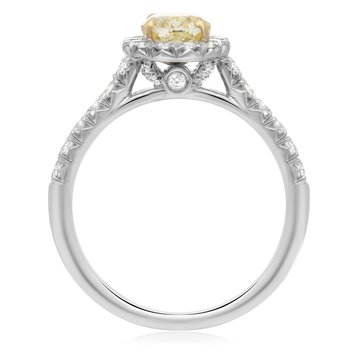 Platinum Oval Cut Yellow Diamond Ring