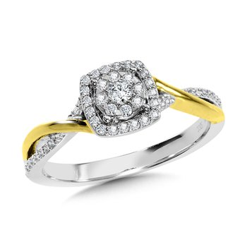 Cushion-Shaped Halo and Round Cluster Diamond Criss Cross Engagement Ring