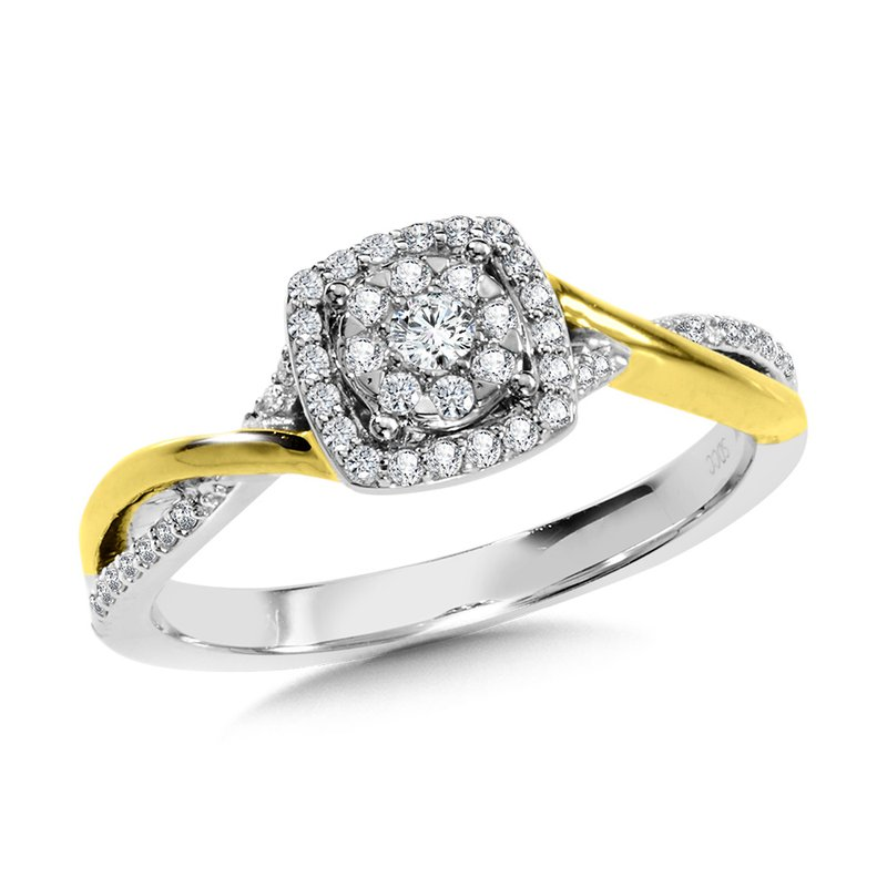 SDC Creations Cushion-Shaped Halo and Round Cluster Diamond Criss Cross Engagement Ring