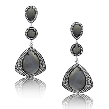 Luna Grigio Moonstone Earrings