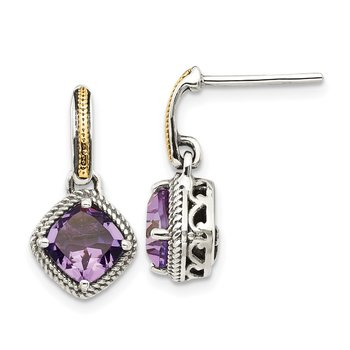 Sterling Silver w/14k Antiqued Amethyst Post Dangle Earrings