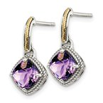 Quality Gold Sterling Silver w/14k Antiqued Amethyst Post Dangle Earrings