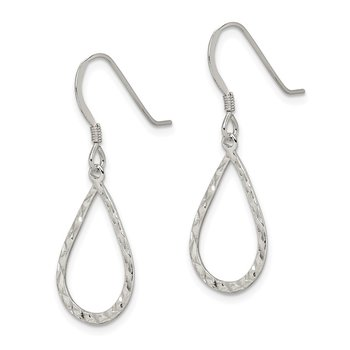 Sterling Silver D/C Teardrop Dangle Shepherd Hook Earrings