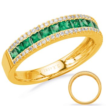 Yellow Gold Emerald & Diamond Ring