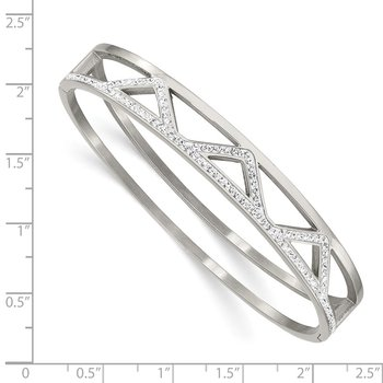 Stainless Steel Polished w/Preciosa Crystal 10mm Hinged Bangle