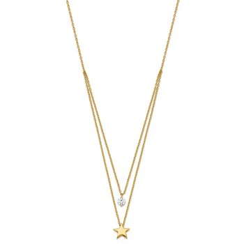 14K Yellow Gold Tiered Star and CZ Necklace