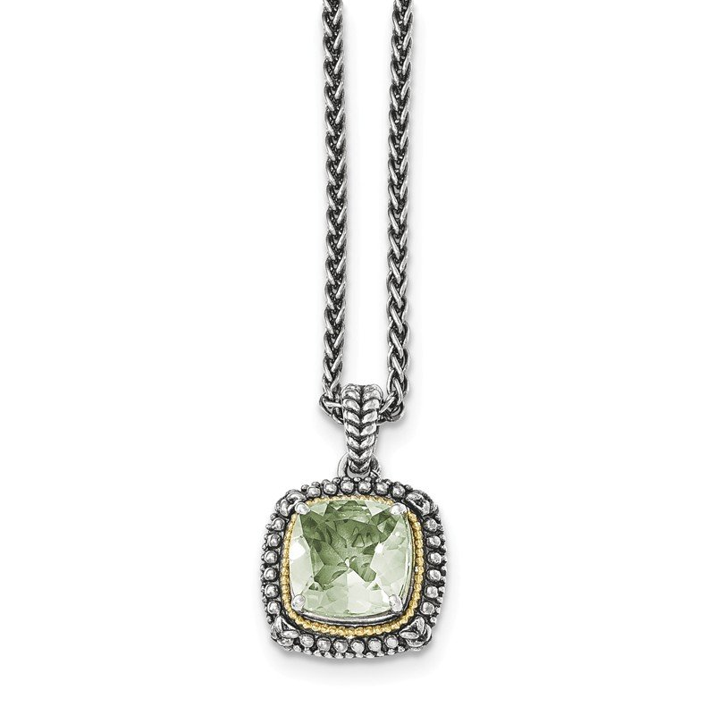 Shey Couture Sterling Silver w/14k Green Quartz Necklace