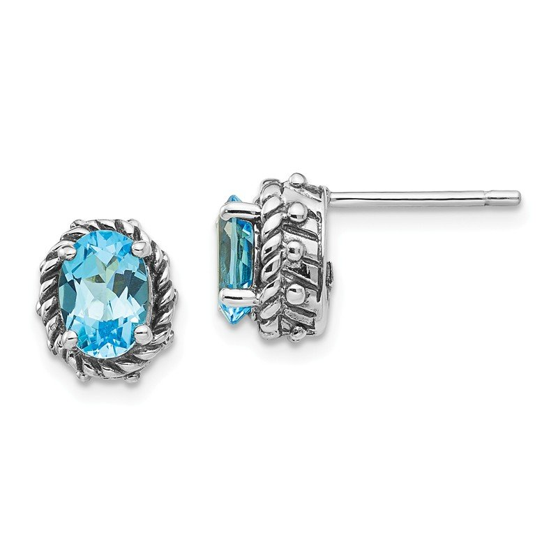 Shey Couture Sterling Silver Blue Topaz Antiqued Earrings