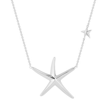 "Large Sterling Silver Starfish Pendant 1 1/3"" Diameter, 18"" Chain"