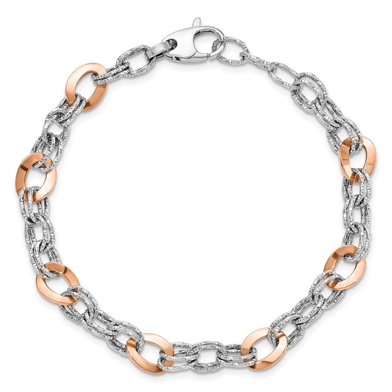 Leslie's Leslie's 14K Rose and White Gold Polished D/C Fancy Link Bracelet