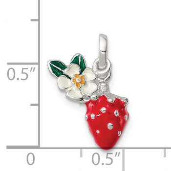 Sterling Silver Enamel Kid's Flower and Strawberry Pendant