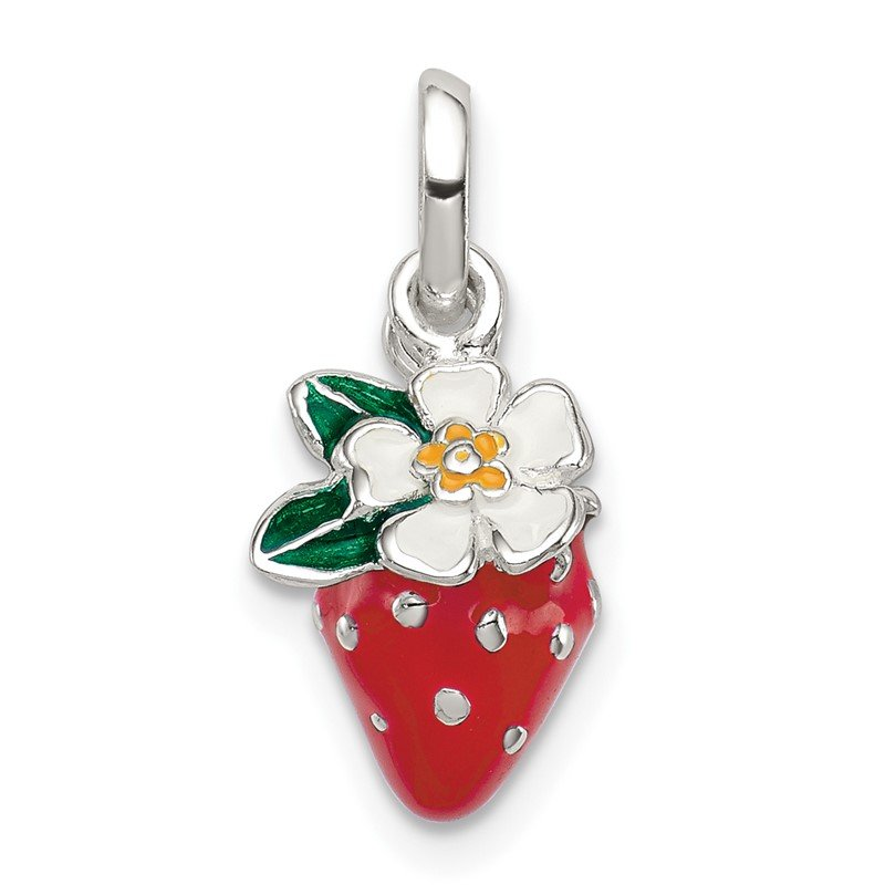 Quality Gold Sterling Silver Enamel Kid's Flower and Strawberry Pendant