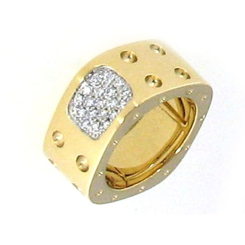 Roberto Coin 2 Row Square Ring With Diamonds &Ndash; 18K Yellow Gold, 6.5
