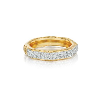 Yellow gold diamond Hero band stack ring