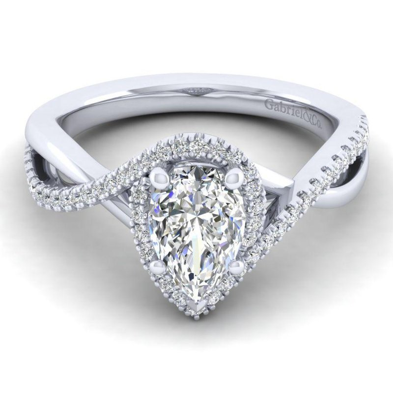 Gabriel  14K White Gold Pear Shape Halo Diamond Engagement Ring