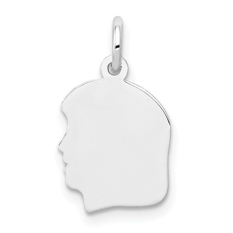Quality Gold 14k White Plain Small.027 Depth Facing Left Engravable Girl Charm