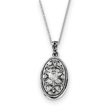 Sterling Silver Antiqued CZ Because Of You 18in Necklace
