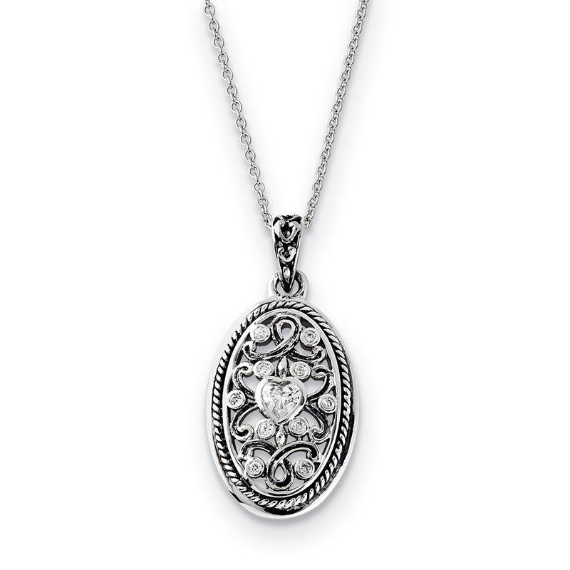 Lester Martin Online Collection Sterling Silver Antiqued CZ Because Of You 18in Necklace