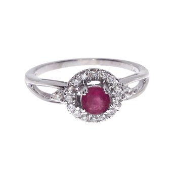 14k White Gold Ruby and Diamond Halo Ring