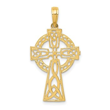 14k Polished Celtic Cross Pendant