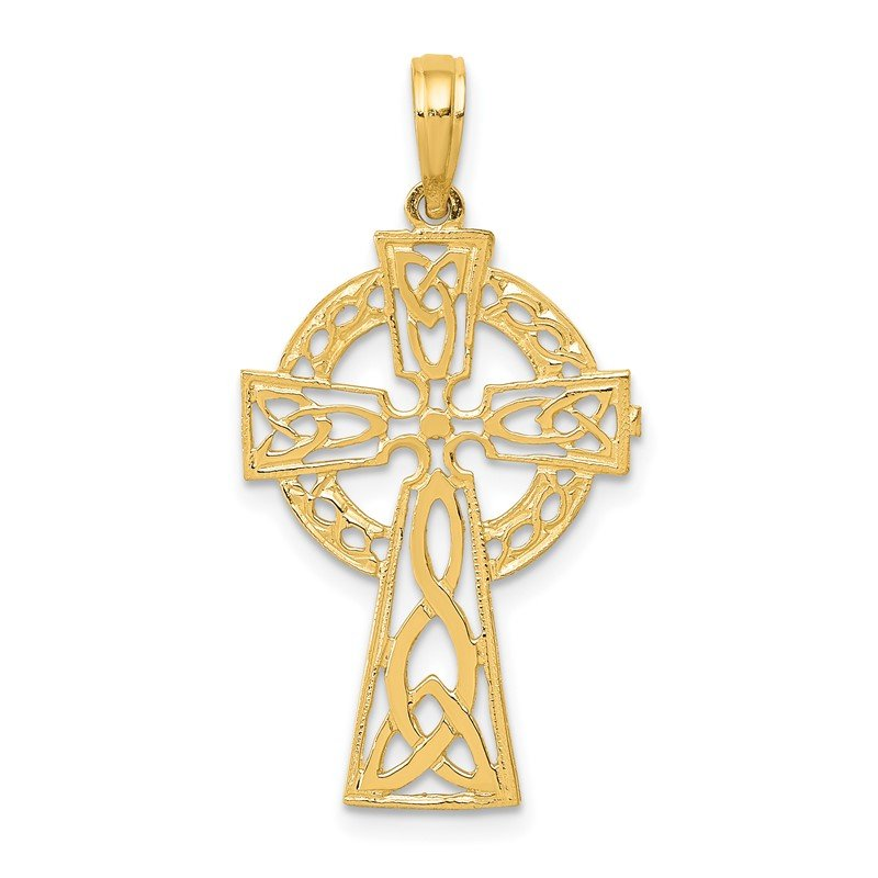 Quality Gold 14k Polished Celtic Cross Pendant