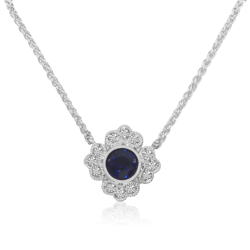 "14k White Gold Filigree Round Sapphire and Diamond Necklace with an 18"" Chain"