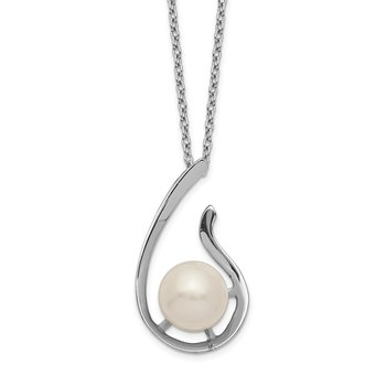 Sterling Silver Rhod-plat 8-9mm White FWC Pearl Necklace