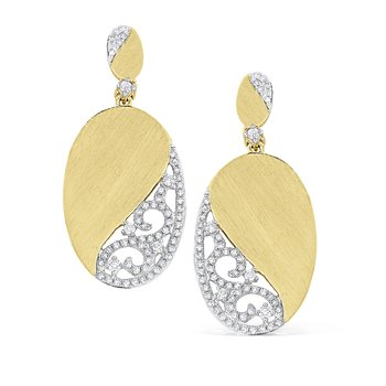 14K Diamond Swirl Oval Earrings
