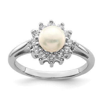 Sterling Silver Rhodium Plated CZ and FW Cultured Pearl Ring