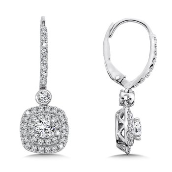 Diamond Drop Earrings with Double Cushion-Shaped Halo in 14K White Gold with Platinum Post (1/2ct. tw.)