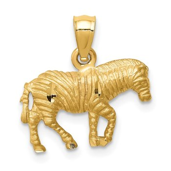 14K Diamond-cut Zebra Pendant
