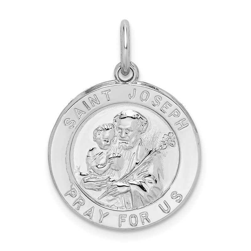 Quality Gold Sterling Silver Rhodium-plated Saint Joseph Medal