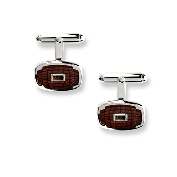 Sterling Silver Classic T-Bar Cufflinks-Brown. Smokey Quartz.