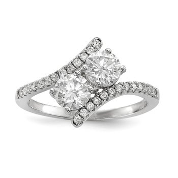 Sterling Silver Rhodium-plated CZ Two Stone Polished Bypass Ring