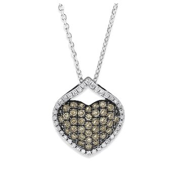Champagne Diamond Pave Heart Necklace in 14K White Gold with 74 Diamonds Weighing .43 ct tw